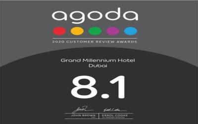 Grand Millennium Hotel Dubai receives Agoda's 2020 Customer Review Award